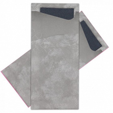 Bestekpochet 80x185mm grijs  + zwart servet 100 stuks