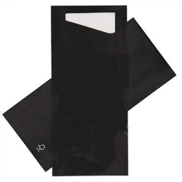 Bestekpochet 80x185mm zwart + wit servet 500 stuks