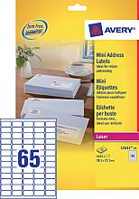 Etiket Avery L7651-25 38.1x21.2mm wit 1625stuks