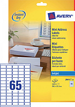Etiket Avery J8651-25 38.1x21.2mm wit 1625stuks