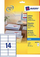 Etiket Avery J8163-25 99.1x38.1mm wit 350stuks