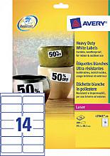 Etiket Avery L7063-20 99.1x38.1mm polyester wit 280stuks