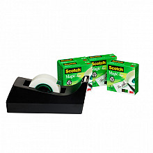 Plakbandhouder Scotch C38 zwart + 4rol magic tape 19mmx33m