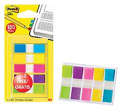 Indextabs 3M Post-it 6835 11.9x43.1mm 3+2 gratis assorti