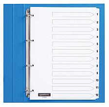Tabbladen Quantore 4-gaats 1-12 genummerd wit karton