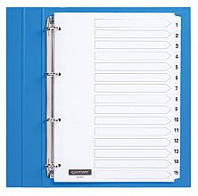 Tabbladen Quantore 4-gaats 1-15 genummerd wit karton