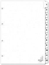 Tabbladen Kangaro 4-gaats PK412C 1-12 genummerd wit karton