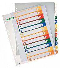Tabblad Leitz WOW A4+ 11-gaats 1-12 PP assorti