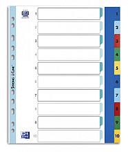 Tabbladen Oxford A4+ 11-gaats 1-10 PP kleur