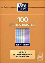 Flashcard Oxford 105x148mm 100vel 210gr ruit 5mm assorti