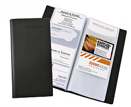 Visitekaartmap Sigel VZ172 192kaarten lederlook mat zwart