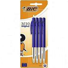 Balpen Bic M10 blauw medium blister à 4st