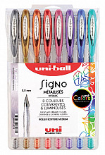 Gelschrijver Uni-ball Signo metallic etui à 8 kleuren