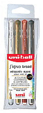 Gelschrijver Uni-ball Signo Broad metallic etui à 4 kleuren