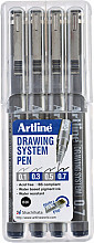 Fineliner Artline set met 0.1-0.3-0.5-0.7mm zwart