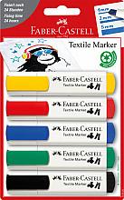 Viltstift Faber Castell textiel blister à 5 kleuren