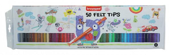 Viltstift Bruynzeel Kids blister à 50 stuks assorti
