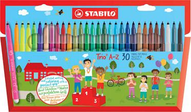 Viltstift STABILO Trio A-Z etui à 30 kleuren