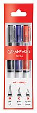 Penseel Caran d'Ache medium, breed , fibre tip set à 3st