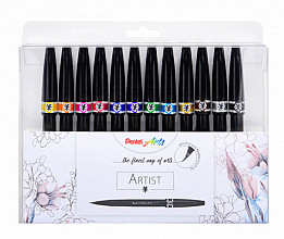Brushstift Pentel artist SESF30C-4 blister à 12 stuks assorti