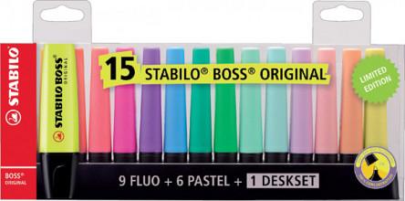 Markeerstift STABILO Boss Original deskset à 15 kleuren