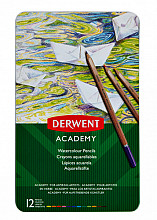 Kleurpotloden Derwent Academy aquarel blik à 12 stuks assorti