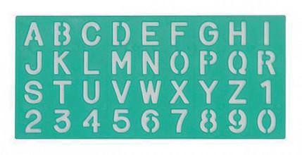 Lettersjabloon Linex 20mm hoofdletters/letters/cijfers
