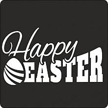 Etiket / Sticker   zwart -wit  'Happy Easter'   500 stuks
