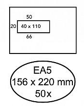 Envelop Hermes EA5 156x220mm venster 4x11links zelfkl 50stuk