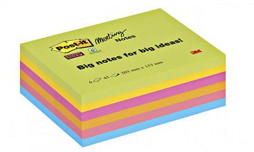 Memoblok 3M Post-it 8645 Super Sticky 203x153mm assorti