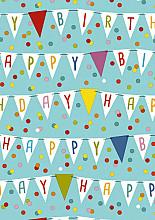 Cadeaupapier 50cm K601642-50 Happy Birthday Flags Aqua 50cm