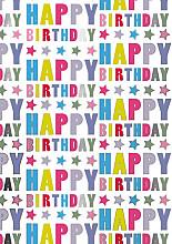 Cadeaupapier 30cm K801516-30/100 Happy Birthday Stars 30cm