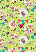 Cadeaupapier 30cm K601886/1-30 it's a birthday party lime 30cm