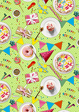Cadeaupapier 50cm K601886/1-50 it's a birthday party lime 50cm