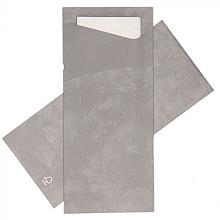Bestekpochet 80x185mm grijs  + wit servet 500 stuks