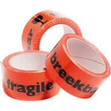 Tape - 50mmx66mtr oranje 'Breekbaar Fragile' per stuk