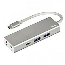 Hub Hama 3.1 USB-C naar USB-A + USB-C + 3,5mm-audio