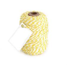 Cotton Cord Twist/ Katoen touw 50 meter geel/wit ø2mm