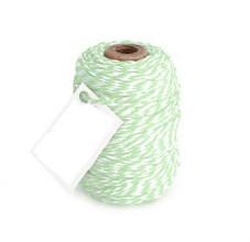 Cotton Cord Twist/ Katoen touw 50 meter mint/wit ø2mm