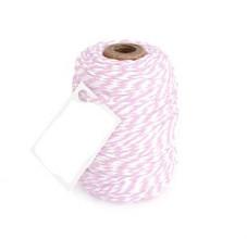 Cotton Cord Twist/ Katoen touw 50 meter roze/wit ø2mm
