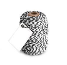 Cotton Cord Twist/ Katoen touw 50 meter zwart/wit ø2mm