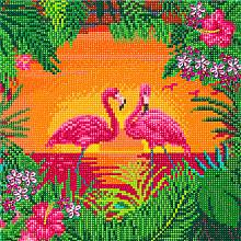 Diamondpainting Crystal Art Kit Fancy flamingo 30x30cm