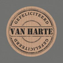 Etiket / Sticker  kraft Van Harte 500 stuks