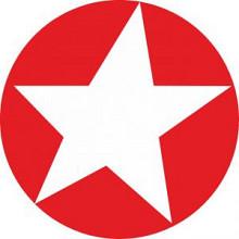 Etiket / Sticker ster helder rood met wit 500 stuks