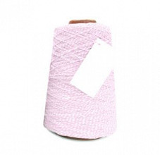 Cotton Cord Twist/ Katoen touw 500 meter roze/wit ø2mm