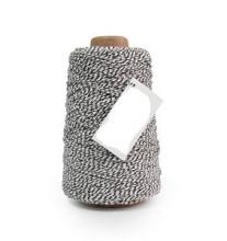 Cotton Cord Twist/ Katoen touw 500 meter zwart/wit ø2mm