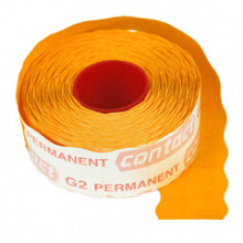 Prijsrol contact permanent 26x12mm fluor oranje