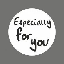 Etiket / Sticker   wit-zwart 'Especially for You' 500 stuks