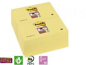 Memoblok 3M Post-it 655-SSY Super Sticky 76x127mm geel 12 stuks