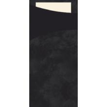 Bestekpochet 8.5x19cm zwart  + servet 100 stuks